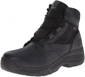 405d1d34 Timberland PRO Men's 6 inch Valor Soft Toe Waterproof Side Zip Work Boot,  Black Smooth Leather Ballistic Nylon, 3.5 W US