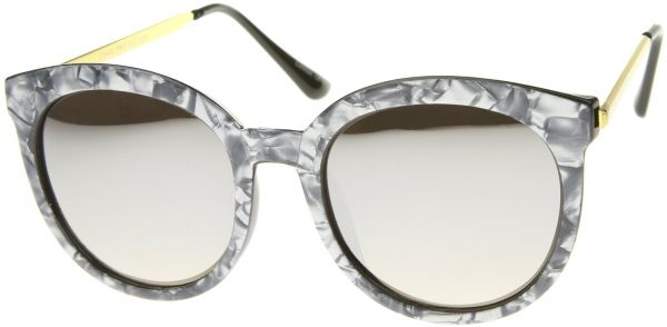 67a7c610605d zeroUV Women s Oversized Marble Finish Metal Temple Mirrored Lens Round  Sunglasses