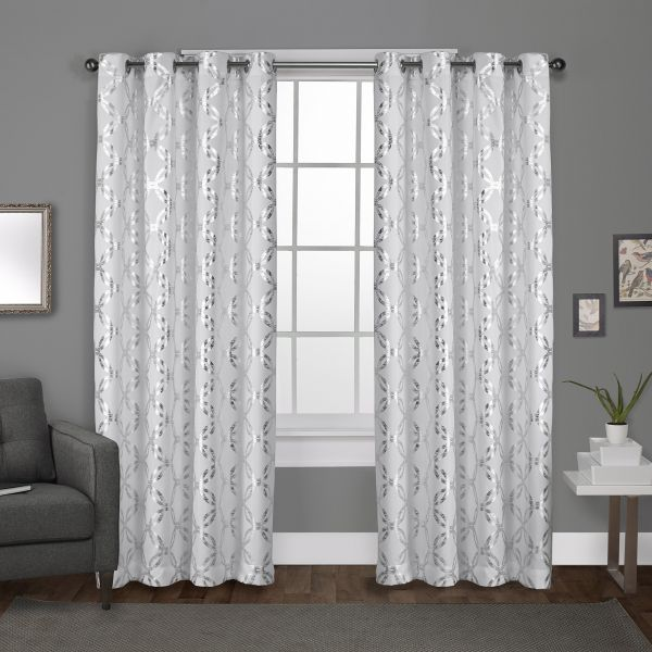 Exclusive Home Curtains Modo Metallic Geometric Window Curtain Panel Pair With Grommet Top Winter White 54x96 2 Piece