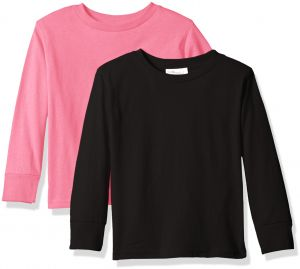 9a920eedfc Clementine Baby Girls' Little Boys' Everyday Toddler Long Sleeve T-Shirts  Crew 2-Pack, Black/Raspberry, 4T
