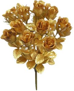 Admired By Nature GPB265G-Gold 14 Stems Faux Blossoms Rose Bush, Gold