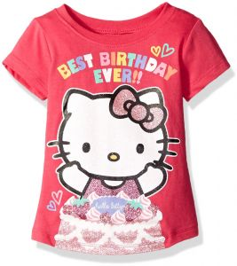 Hello Kitty Girls Little Happy Birthday T Shirt Fuchsia Pink 5