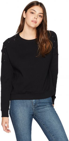 Betsey Johnson Women s Lace-up Sleeve Pullover Sweatshirt bef29d591