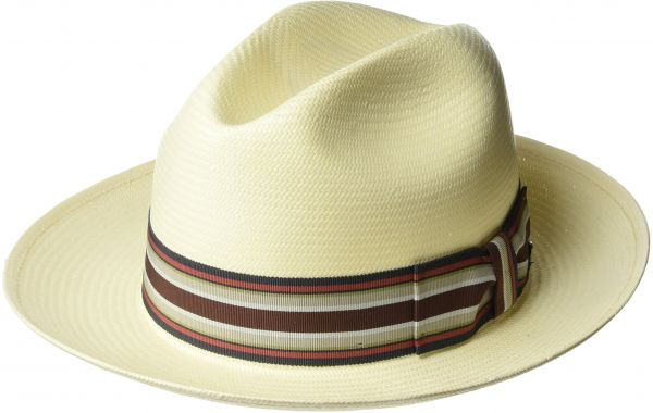 29e253bb203 Bailey of Hollywood Men s Creel Straw Fedora Trilby Hat with Striped Band