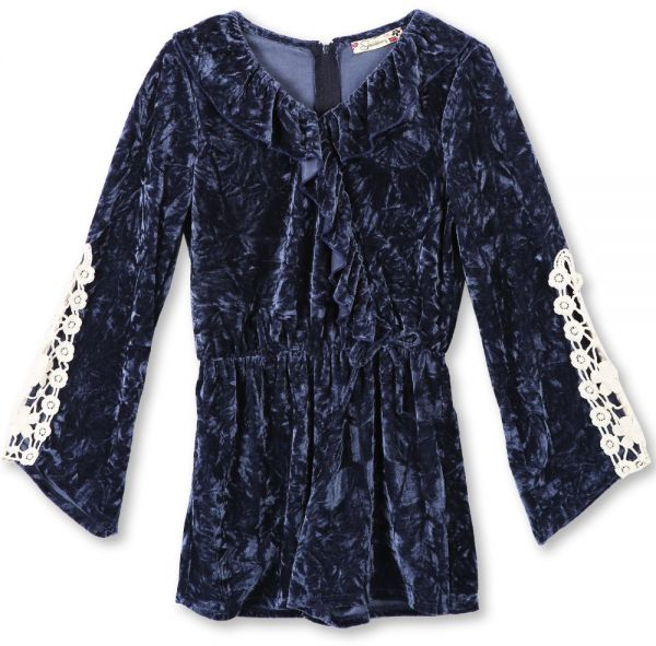 28ca3f10f286 Speechless Big Girls  Flutter Front Crushed Velvet Romper