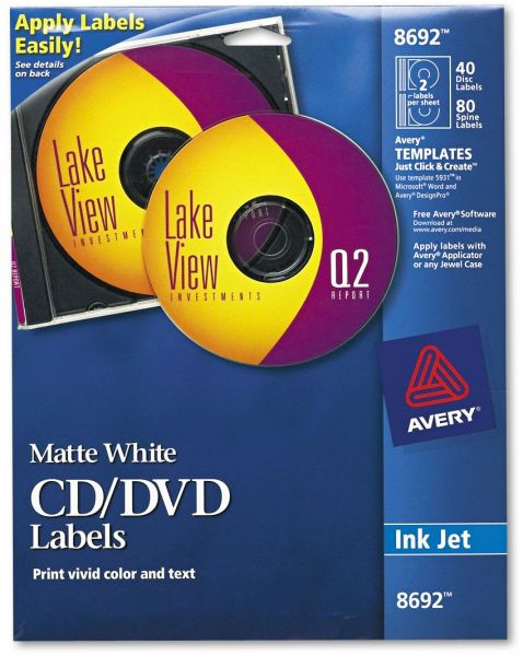 avery cd labels matte white 40 disc labels and 80 spine labels