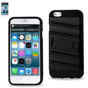 Reiko QQ Line Hybrid Case with Horizontal KickStand for iPhone 6 4.7INCH, iPhone 6S 4.7inch - Retail Packaging - Black