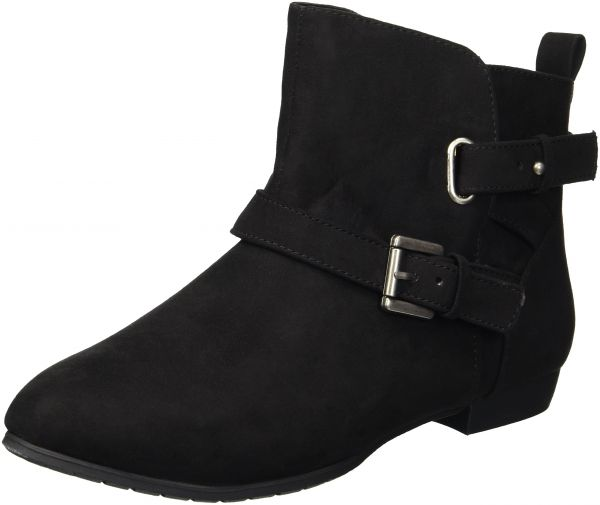 169279b7ba0 Rampage Women s Biddy Short Casual Pull on Double Buckle Strap Ankle Boot