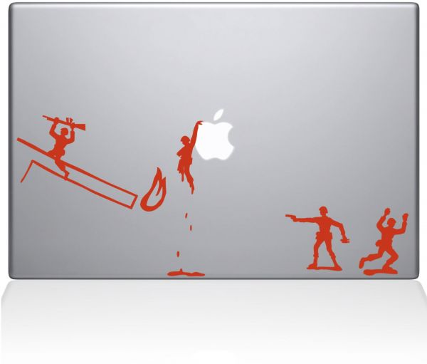 "The Decal Guru 0108-MAC-15P-P Army Men Vinyl Sticker, 15"" MacBook Pro ‫(2015 & Older), Orange"