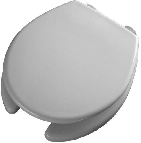 """Bemis Medic-Aid 2"""" Lift Raised Open Front Plastic Toilet Seat and Cover, Round, White, 2L2050T 000"""
