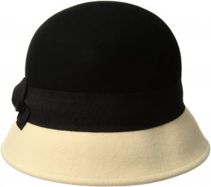 178dbd2c4996d San Diego Hat Company Women s 2 inch Brim Wool Color Block Cloche Hat with  Grossgrain Bow
