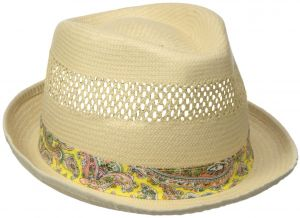 572acf8d26c Henschel Men s Vented Toyo Straw Fedora with Paisley Band and Sweatband