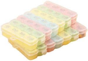 1PCS 4 Colors 7 Days Weekly Tablet Pill Medicine Box Holder Storage  Organizer Container Case Pill Box Splitters
