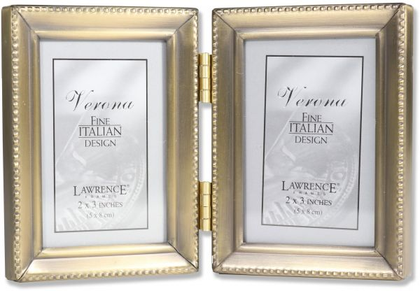 Lawrence Frames Antique Gold Brass Hinged Double 2x3 Picture Frame