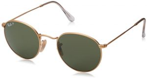 Ray-Ban RB3447 112 P9 Polarized Round Sunglasses, Matte Gold, 53 mm 745c54a4441d