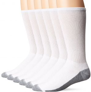 d88407ce9380 Hanes Men's Comfortblend Max Cushion Crew Socks 6-Pack, White, Shoe Size: 6 -12
