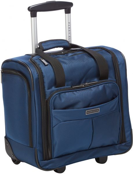 Perry Ellis Men S Excess 9 Pocket Underseat Rolling Carry On Bag Travel Tote Navy One Size
