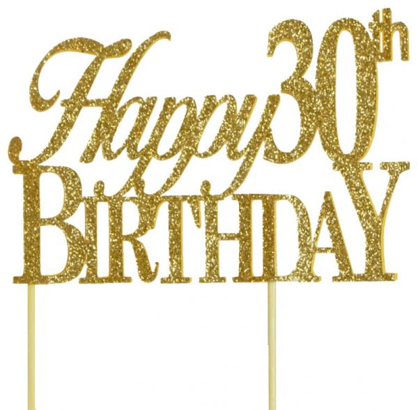 All About Details Gold Happy 30th Birthday Cake Topper