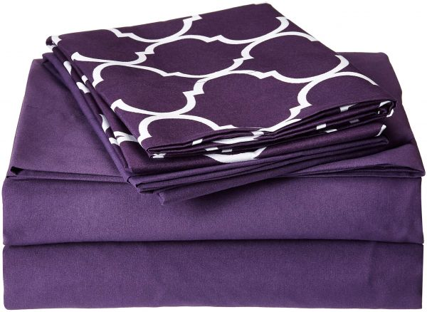 b68c4f4b39 ... 8 Piece Sheet Set Super Soft Contemporary Geometric Pattern Print Deep  Pocket Design - Includes Flat   Fitted Sheets and Bonus Pillowcases Twin  Plum