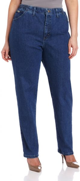 fc271765a77 LEE Women s Plus-Size Relaxed Fit Side Elastic Tapered Leg Jean ...