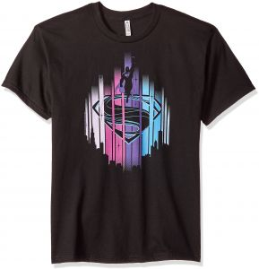 62b4e790 Trevco Men's Superman Man of Steel Short Sleeve T-Shirt, Lights Black,  X-Large