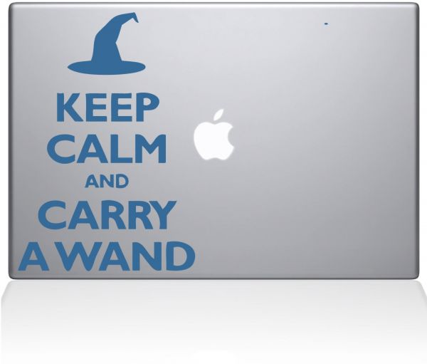 "The Decal Guru Keep Calm and Carry a Wand MacBook Decal Vinyl Sticker  - 13"" Macbook Air - Light Blue ‫(1109-MAC-13A-LB)"