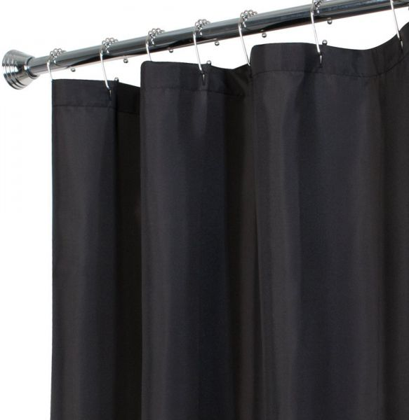 MAYTEX Water Repellent Fabric Shower Curtain Or Liner Machine Washable 70 Inch X 72 Black