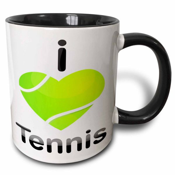 3dRose Anne Marie Baugh Sports - I Love Tennis With A Green Heart كرة تنس - مج, 11 oz
