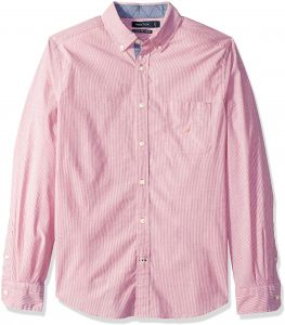 c66bd1d99182f Nautica Men s Classic Fit Stretch Striped Long Sleeve Button Down Shirt