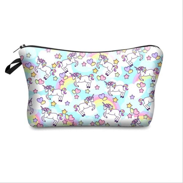 655efb20a230 3D Printing Unicorn Cosmetic Bag Multicolor Pattern Cute Cosmetics Pouchs  For Travel Ladies Pouch Women Makeup Bags