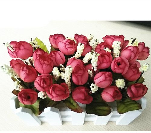 Artificial Flowers Fake Rose In Picket Fence Pot Pack Mini Red