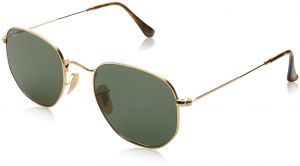 97d8bc0ec6bec Ray-Ban Unisex RB3548N Hexagonal Sunglasses - Gold Frame Green Lenses, 51 mm