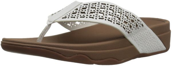 c51cfa87a7f9ae FitFlop Women s Leather Lattice Surfa Floral Flip-Flop