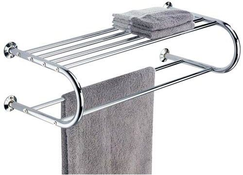 Organize It All Mounted Chrome Bathroom Shelf With Towel Rack Souq