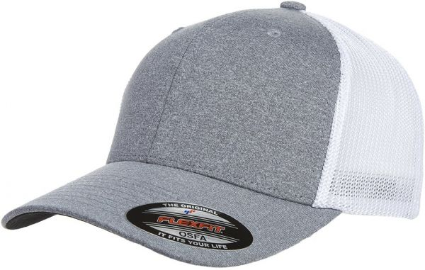 9bd96156 Flexfit Men's Melange Stretch Mesh Cap, Heather Grey/White, One Size | Souq  - UAE