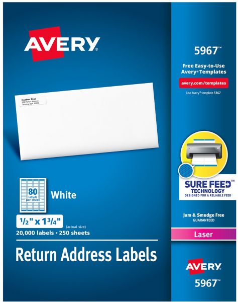 avery address labels with sure feed for laser printers 0 5 x 1 75