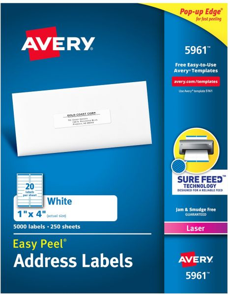 Avery Address Labels With Sure Feed For Laser Printers 1 X 4