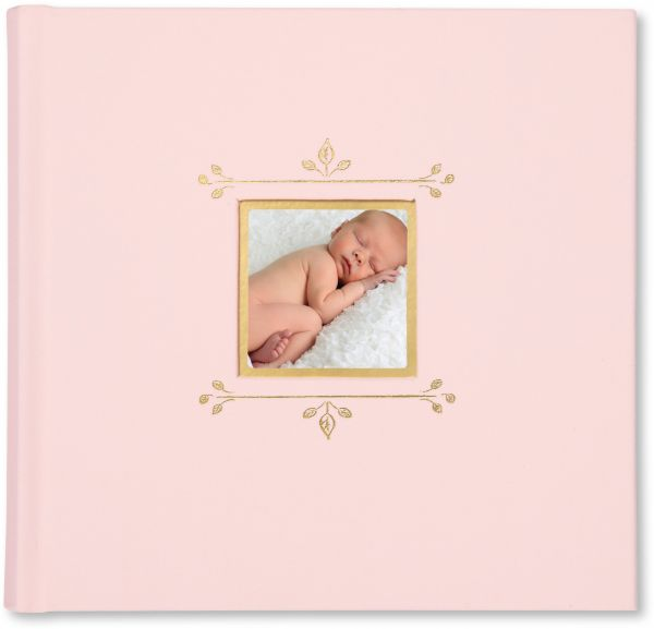 Cr Gibson Pink Cloth Slim Bound Photo Journal Album For Baby And