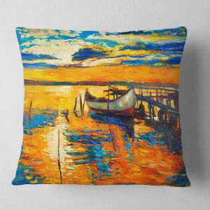 8cc9455556409 Designart CU6084-16-16 Boat and Jetty at Sunset  Landscape Printed Throw Cushion  Pillow Cover for Living Room