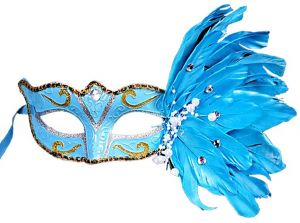 Women Lace Feather Eye Mask Party Masks For Masquerade Christmas Mask-Blue