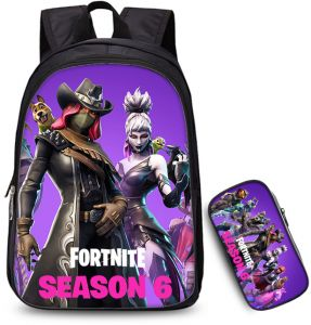 5fdf235cec9 Two-piece Fortnite SEASON 6 Anime Student Pencil Bag Backpack Primary  School Bag   35cm