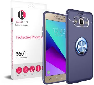 Samsung Galaxy Grand Prime Ring Series Shock Absorption Soft TPU Back Case Cover - Navy Blue