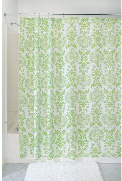 InterDesign Damask Fabric Shower Curtain 72 X Lime