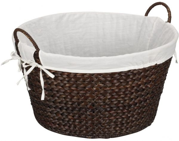 Household Essentials Ml 6667b Round Wicker Laundry Basket Hamper With Liner Dark Brown