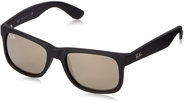 ff05c56c8c Ray-Ban JUSTIN - RUBBER BLACK Frame LIGHT BROWN MIRROR GOLD Lenses 51mm Non- Polarized