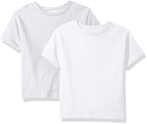 6fb8a79df Clementine Baby Girls' Little Boys' Everyday Toddler T-Shirts Crew  2-Pack,White/Ash Grey, 3T
