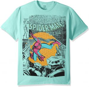 38086c331 Marvel Men's Super Hero Pastel Short Sleeve Graphic T-Shirts, Spider/Man  Mint, L