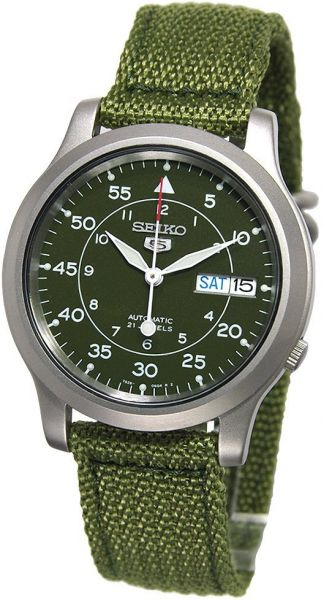 6bea89b11c6 Seiko Men s SNK805 Seiko 5 Automatic Stainless Steel Watch with Green Canvas