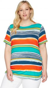 3b110fedce4 Ruby Rd. Women s Plus Size Printed Short Sleeve Knit Top with Double Side  Ruching