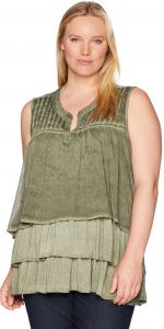 c738cf51d72d41 OneWorld Women s Sleeveless Oil Wash Knit Top with Layer Front ...